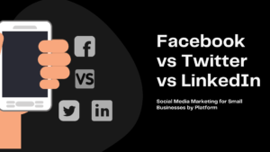 Facebook vs Twitter vs LinkedIn social media marketing graphic