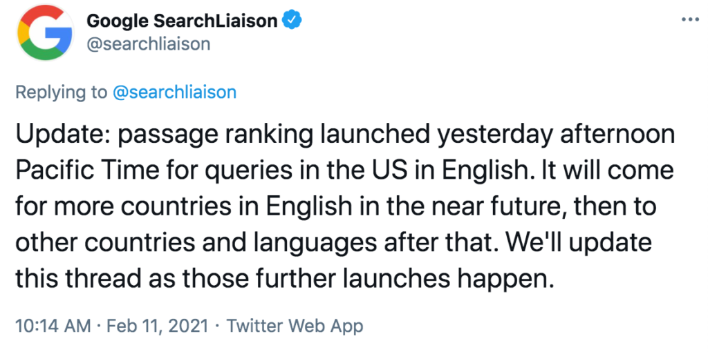 Tweet from Google Search Liaison account confirming passage-based indexing roll out